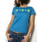 "T-Shirt ""AIL Code"" Donna BIO - Colore Turchese - Stampa Verde"