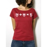 "T-Shirt ""AIL Code"" Donna BIO - Colore Rosso - Stampa Bianca"